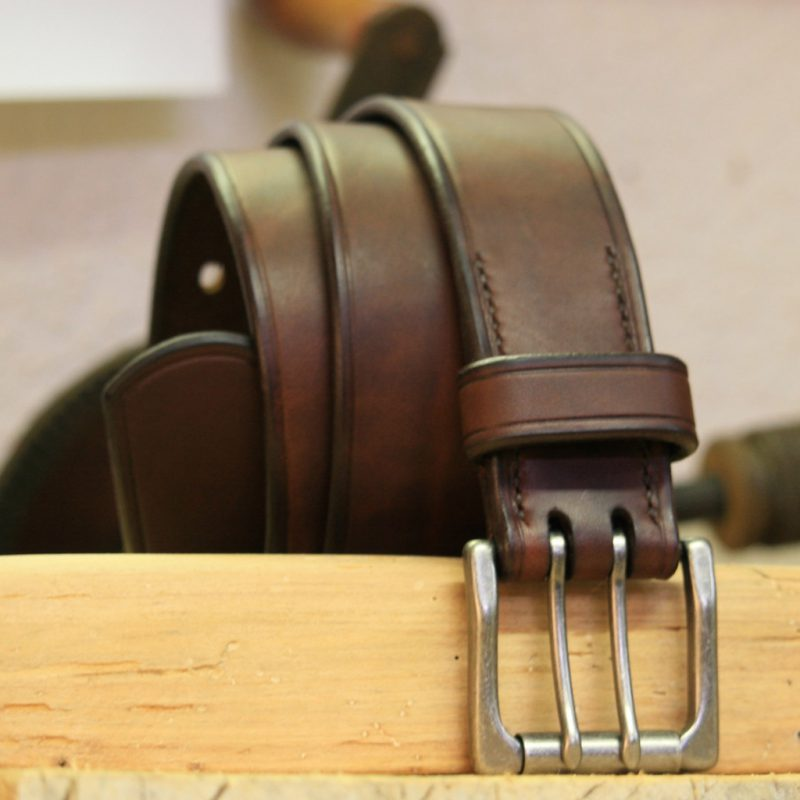 Brown leather belt with solid brass buckle
