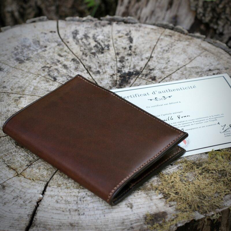 Portefeuille cuir brun certificat d'authenticité