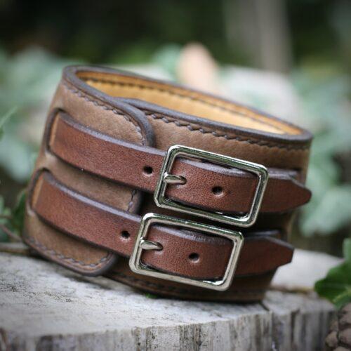 Bracelet de force forgeron brun - boucles